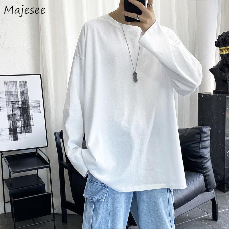Футболка мужская Базовая однотонная с длинным рукавом, мягкая удобная универсальная Модная рубашка в стиле оверсайз, простой дизайн, в Коре...