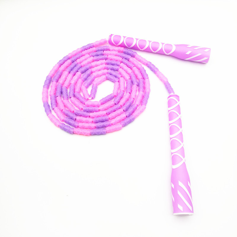 Top Grade Pattern Bamboo Joint Jump Rope Thread Handle Anti-slip Dull Polish Adult Children Fancy Beads Jump Rope