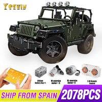 MOC RC Jeeps Wranglered Adventurer Off road Car Fit Technic Building Blocks Bricks Kids Toys Gifts for Boys 5140