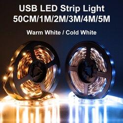 USB câble alimentation 2835SMD LED bande lumière noël bureau décor lampe bande 5V Led TV lumière éclairage de fond 50CM 1M 2M 3M 4M 5M