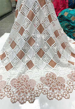 Nigerian Lace Fabric 2020 High Quality Soft White African French Tulle Cord Lace Fabric With Stones For Wedding  NLY5-1