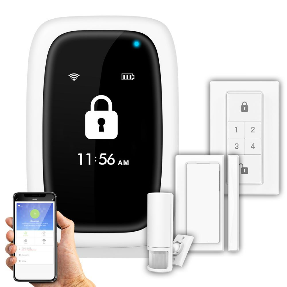 Mini Wireless WiFi Alam System App Remote Control Android IOS Voice Promot Security Home Alarm Door Window Sensor SOS Button