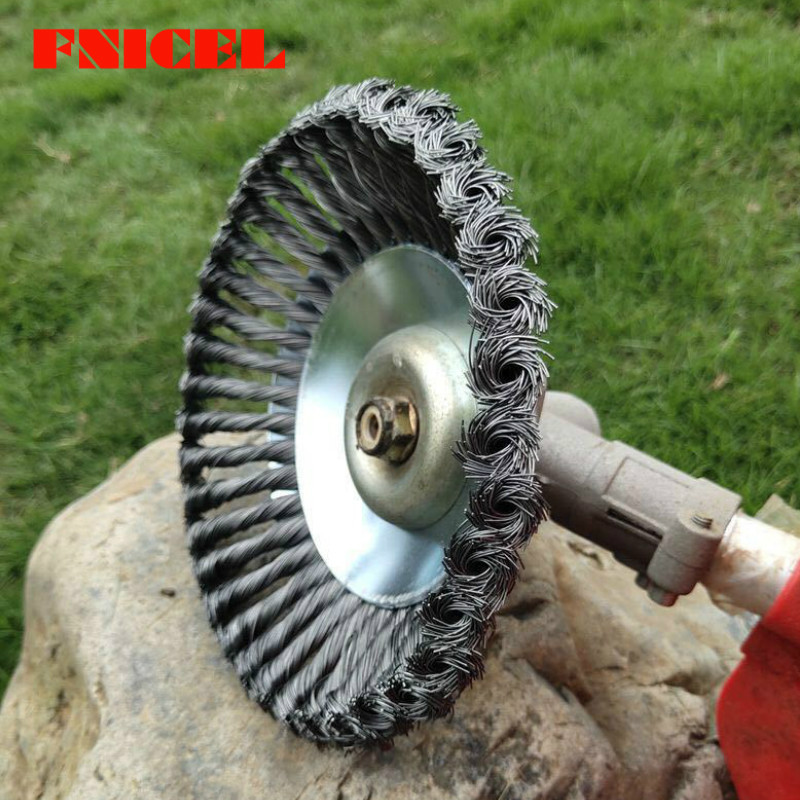8 Inch Steel Wire Wheel Brush Grass Trimmer Head Lawn Mower Brush Cutter Weeding Head Rust Removal Tray