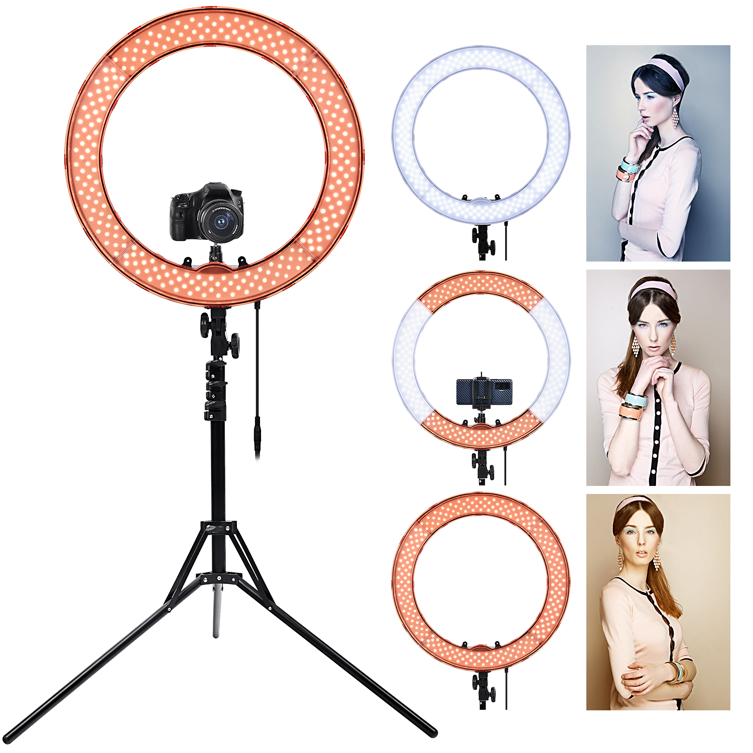FOSOTO RL-18 Led Ring Light Photography Lamp 18 Inch Ring Lamp 55W Ringlight With Tripod Stand For Camera Phone Makeup Youtube