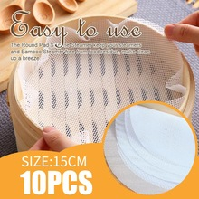 3 Sizes Round Non-Stick Silicone Steamer Pad White Dim Sum Paper Home Restaurant Steamers Mat Kitchen Cooking Tools 15/25/35CM