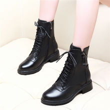 Liren 2019 PU Women Boots Winter Fashion Sexy Round Toe Cross-tied Zip Square Heels Med High Mesh Shoes