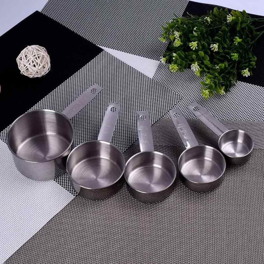 Hot 5 Pcs Durable Stainless Steel Measuring Spoons Cups Set Kitchen Baking Tools