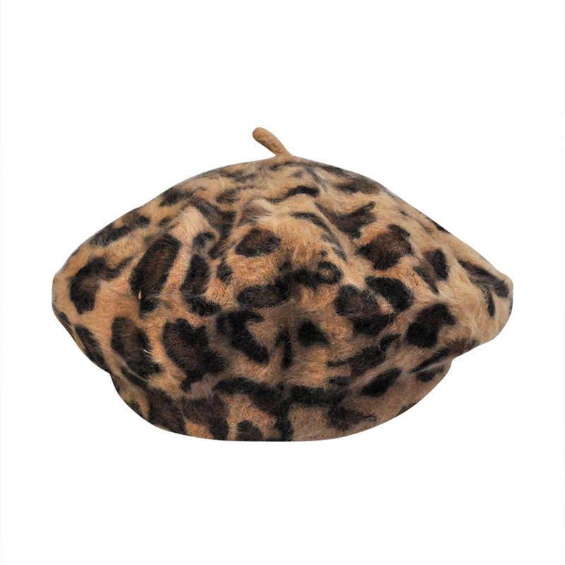 ZLD الخريف الشتاء المرأة ليوبارد الرجعية الصوف الأزياء قبعات أنيقة السيدات الأدبية اليابانية الدفء كاب قبعة