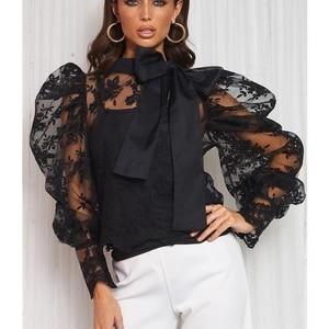 Lace Crochet Womens Tops and Blouses Elegant Sheer Mesh Long Puff Sleeve OL Shirt Ladies See Through Transparent blusa feminina