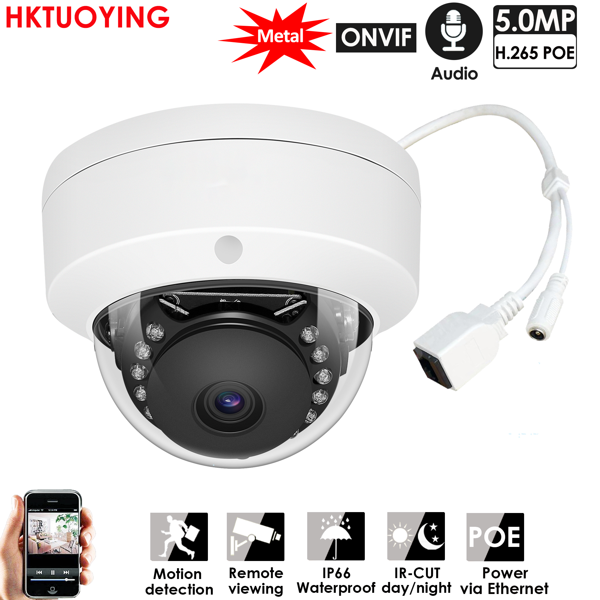 H265+ 5MP Metal Dome POE IP Camera ONVIF Audio Record CCTV Camera 3mp 5mp Vandalproof IP66 Outdoor Home Security Video System