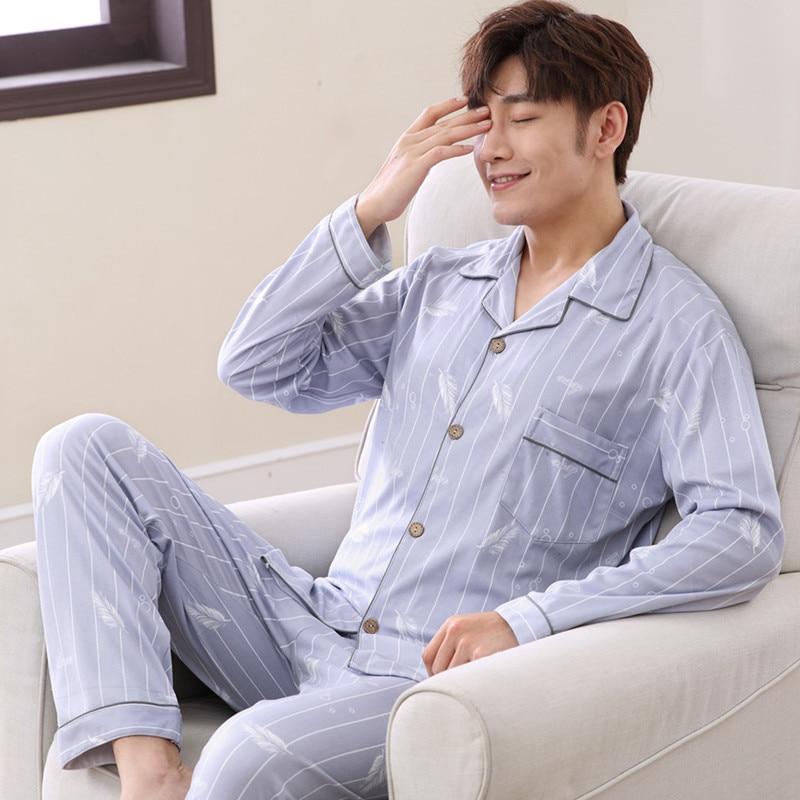 Suit Pyjama-Set Sleepwear Sleep-Clothing Night Casual Male Cotton Men 2pcs Long-Seleeve