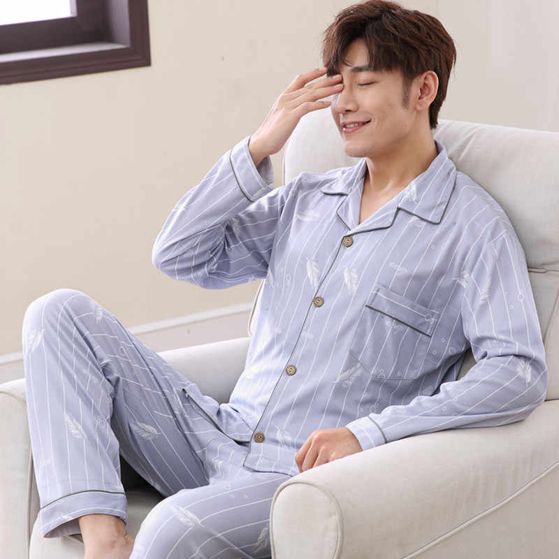 Men Pyjama Set Cotton Long Seleeve 2 Pcs Sleepwear Suit 2019 New Male Sleep Clothing Night Home Wear Casual Pajama Pijama Hombre