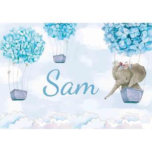 Image 5 - Allenjoy 코끼리 배경 아기 샤워 생일 푸른 하늘 꽃 풍선 사진 배경 신생아 파티 Photocall 배너