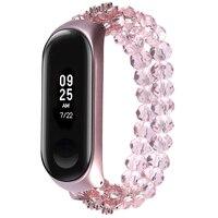 Pulseira de cristal de luxo para xiao mi mi banda 3 4 rosa pulseiras de pulso para mi banda band3 band4 acessórios substituir cinta nova menina Acessórios inteligentes     -