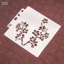 14*13cm Flower Branch DIY Layering Stencils Wall Painting Scrapbooking Coloring Embossing Crafts Album Decor Paper Card Template cup coffee flower sticker painting stencils for diy scrapbooking stamps home decor paper card template decoration album crafts