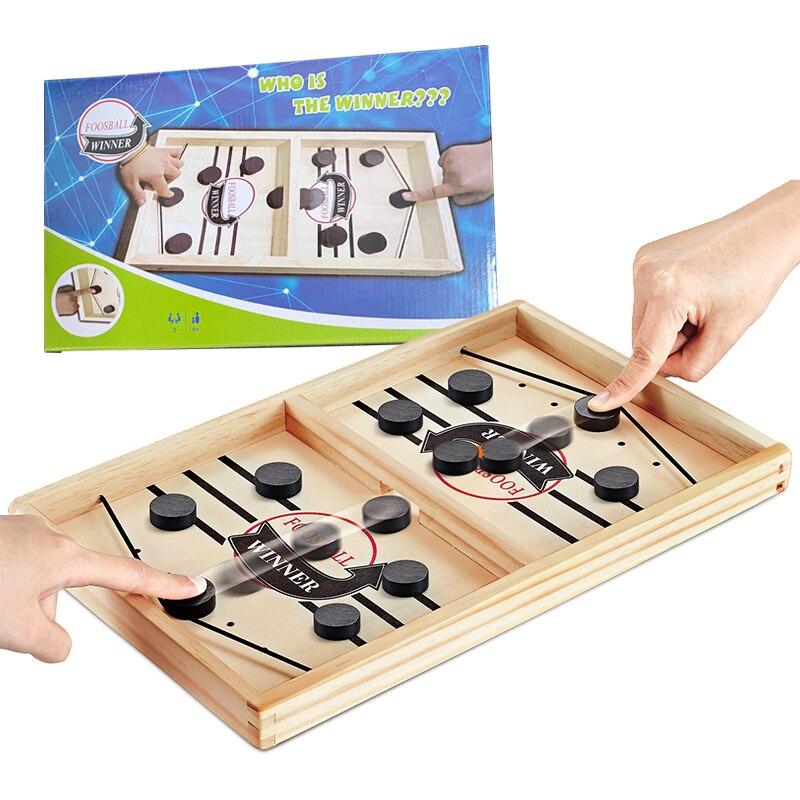 Jeux de société de Table rapide Hockey fronde jeu de rondelle rythmé fronde palet gagnant amusant jouets en bois jeu de fête jouets pour adulte enfant famille