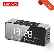 Oryginalny Lenovo L022 przenośny głośnik bezprzewodowy Bluetooth Bass LED budzik karta TF AUX FM bezprzewodowy głośnik wbudowany mikrofon