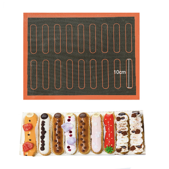 Silicone Mat 18 Eclair Pastry Non Stick Puff Perforated Liner Pad Macaron Cookie Bread Mold For Baking Tools Oven Sheet Bakeware Bakeware
