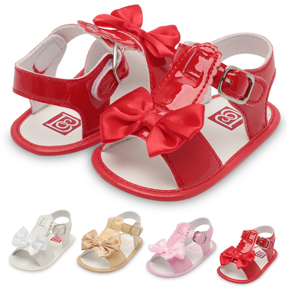 2019 Baby Summer Shoes Newborn Infant Baby Girls Boys Shoes Solid Non-slip Party Bow PU Leather Breathable Toddler Shoes 0-18M