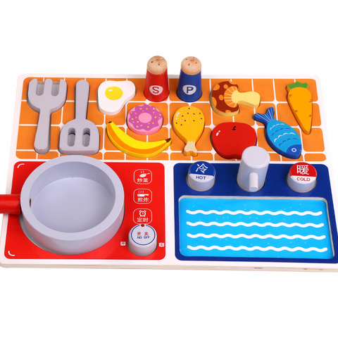 imulacao brinquedos de madeira fingir jogar casa cortar legumes peixe cozinhar brinquedos de cozinha de