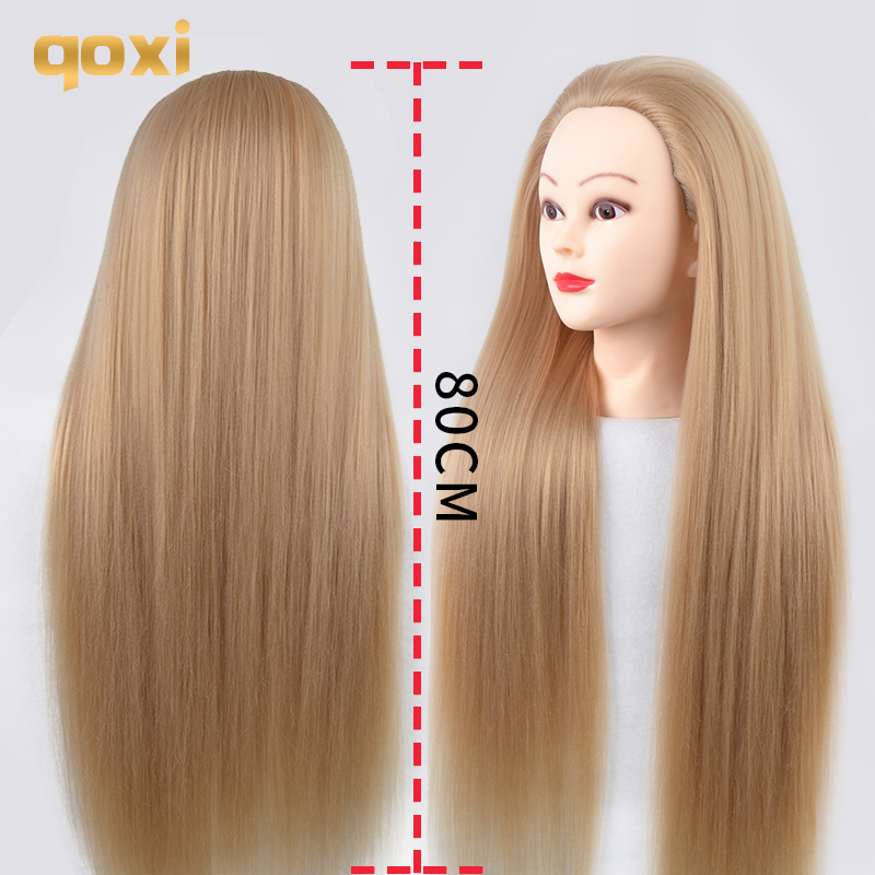 Qoxi 80cm Training Heads With Long Thick Hairs Practice Hairdressing Mannequin Dolls Hair Styling Maniqui Tete For Sale