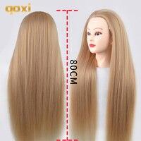 Qoxi 80 см тренировочные головки с длинными густыми волосами Парикмахерская практика манекен куклы для укладки волос манекен тет для продажи
