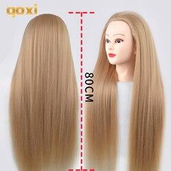 Qoxi 80cm cabeças de treinamento com longos cabelos grossos prática cabeleireiro manequim bonecas cabelo estilo maniqui tete para venda