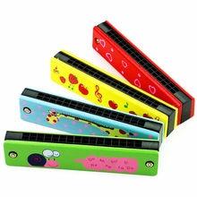 16 otworów śliczne harmonijka instrument muzyczny zabawki edukacyjne Montessori Cartoon wzór dzieci Instrument dęty dzieci prezent dla dzieci