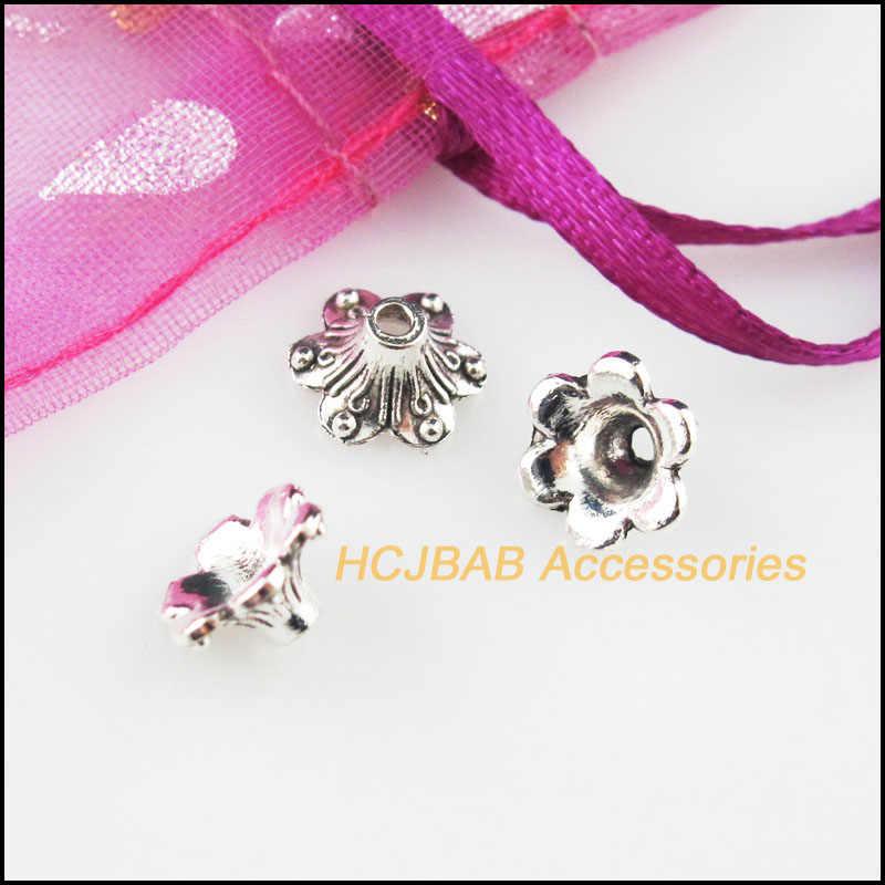 Fashion 35 Buah Perak Tibet Warna Tanaman Bunga Spacer Akhir Beads Konektor 4.5x9mm