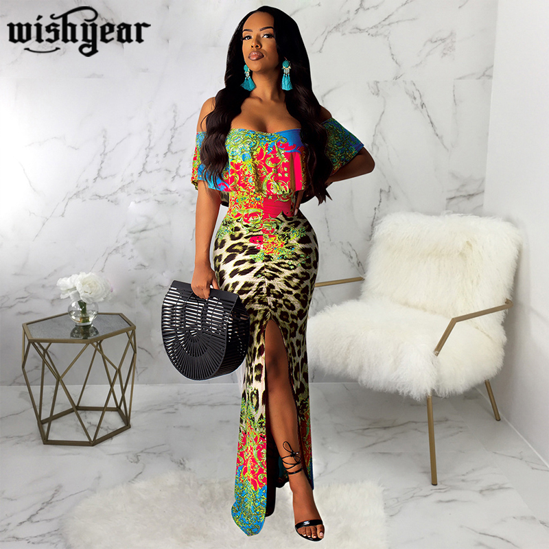Wishyear Floral Leopard Print Ruffle <font><b>Maxi</b></font> <font><b>Dress</b></font> Women <font><b>Sexy</b></font> Slash Neck Off Shoulder <font><b>High</b></font> <font><b>Slit</b></font> Bodycon Club Party <font><b>Dress</b></font> Robe Long image