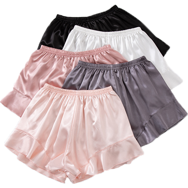 2020 Female Summer Satin Casual Sexy Simple Ruffled Elastic Waist Soft Color Sleep Shorts Can Be Worn