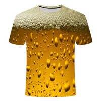 2019 nova amarelo espuma da cerveja de verão T-shirt de impressão digital de poker 3D Hamburgo, dos homens em torno do pescoço T-shirt de manga curta, lazer fash