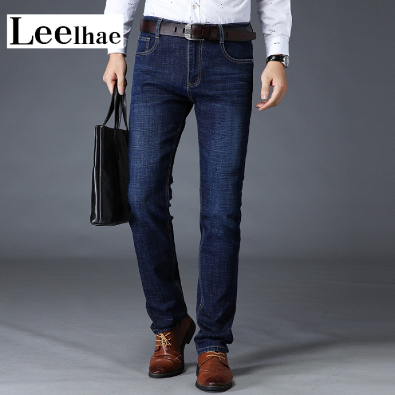 Leelh Brand Summer Jeans Men's Thin Elasticity Straight Slim Middle-aged Business Pants Youth Casual Pants