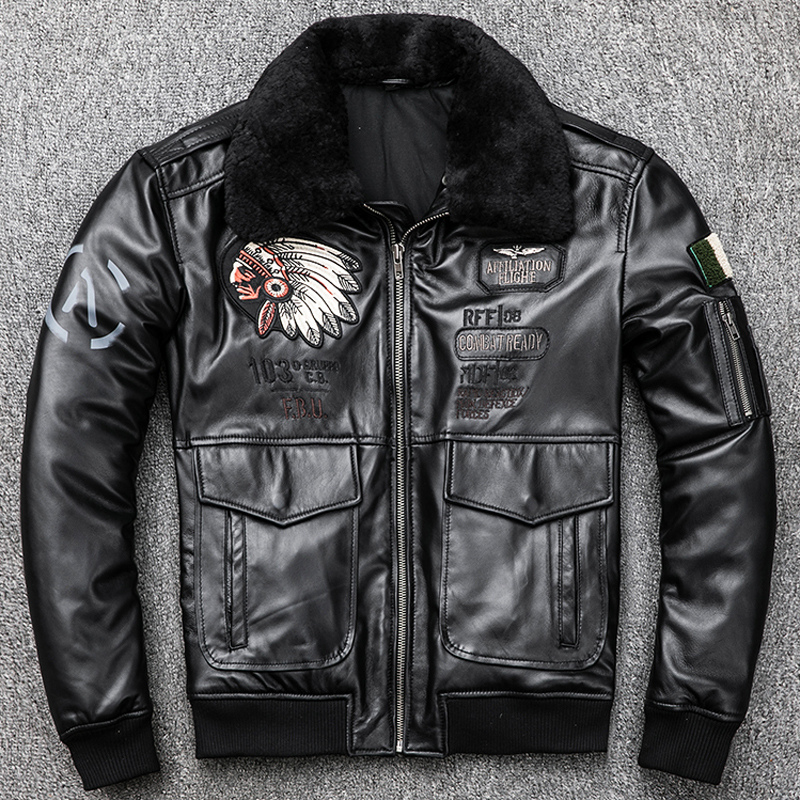 Indian Style Fight Mens Sheepskin Leather Jackets Fur Collar Plus Size XXXL Winter Warm Man Real Genuine  Leather Coats A839