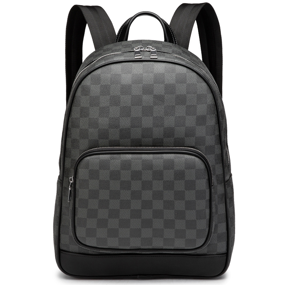 HORIZONPLUS New Fashion Black Vegan Leather Backpack Large Capacity Leisure Business  Backpack With Campus Students Laptop Bag
