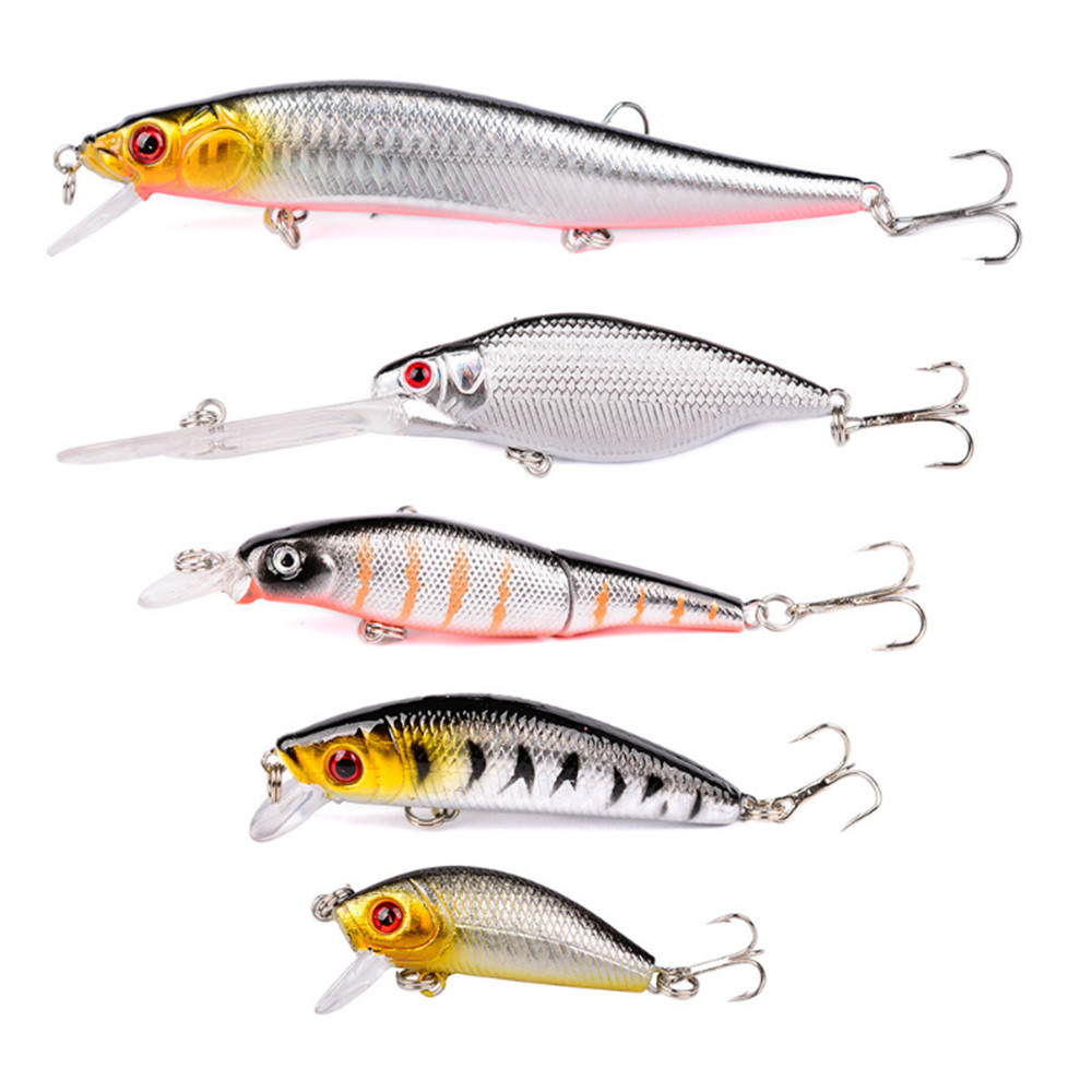 5pcs//lot Minnow Fishing Lure Hard Artificial Bait Hook Bass Wobbler Crankbait