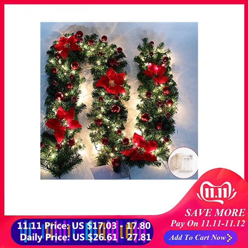 Christmas Decorations Garland Decoration Rattan Lights Wreath Mantel Fireplace Stairs Wall Door Pine Xmas Tree LED Light Decor