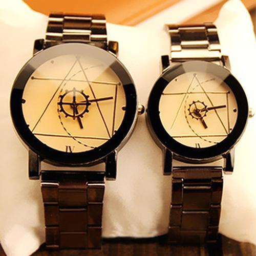 Lover Couple Watch Women Fashion Compass Hands Stainless Steel Band Analog Quartz Wrist Watch Men Clock Reloj Mujer парные часы