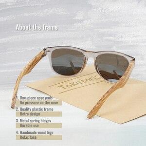 Image 3 - Toketorism 2019 zebra Wood sunglasses Polarized ebony wooden sun glasses Transparent Gray Frame for men women 1051