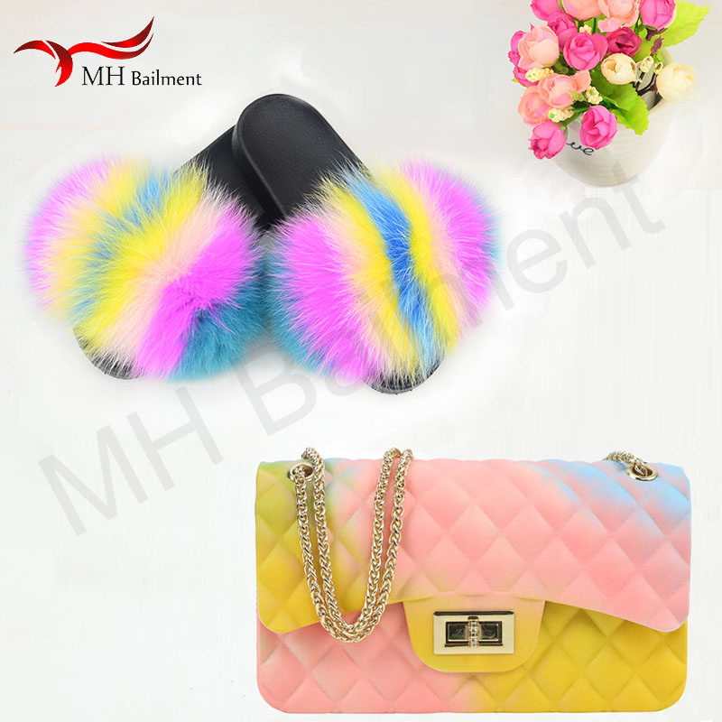 Ladies summer 100% fox raccoon fur slide ladies furry home slippers frosted color jelly bag fashion comfortable beach shoes set-in Slippers from Shoes    1