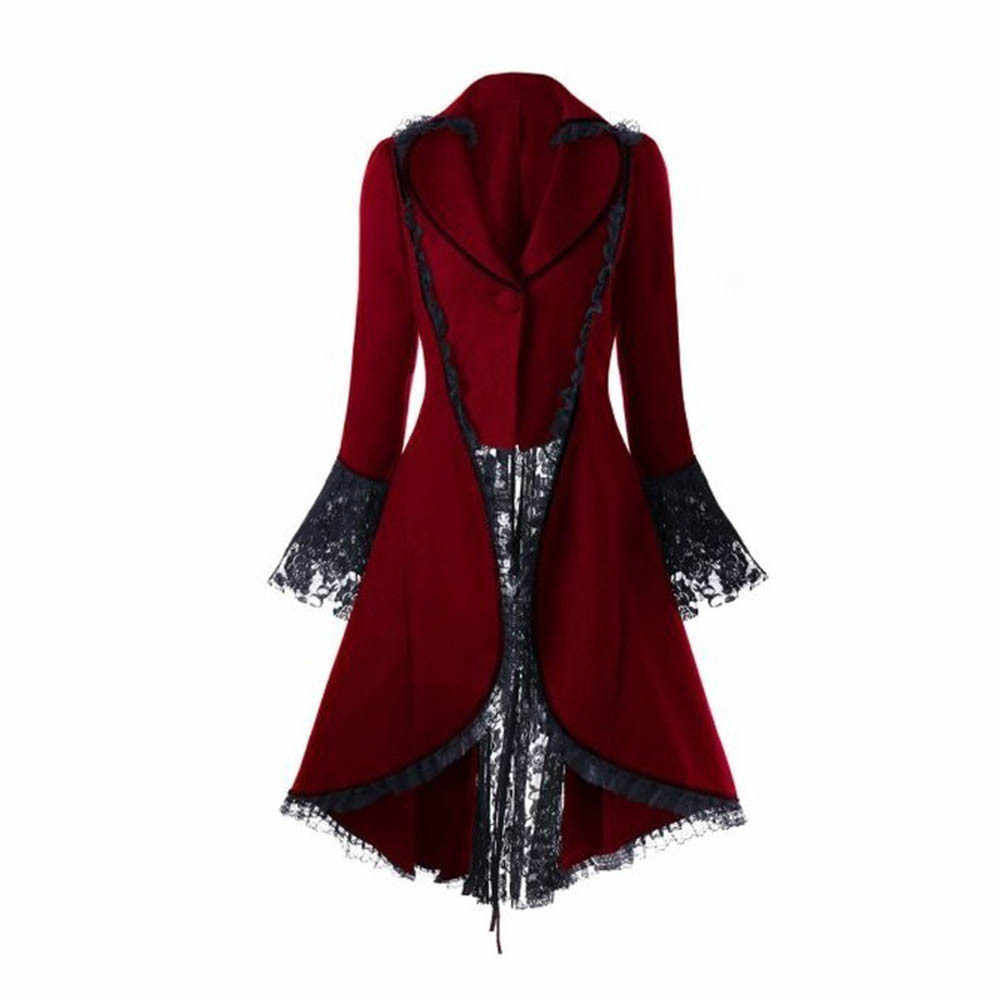 Vrouwen Lace Trim Lace-Up Hoge Lage Jas Zwart Steampunk Victoriaanse Stijl Gothic Jacket Middeleeuwse Noble Hof Jurk S-5XL # F
