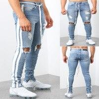 Skinny Jeans For Men Ripped Hole Stretch Denim Pencil Pants Male Autumn Side Stripe Streetwear Slim Fit Jean Trousers Plus Size