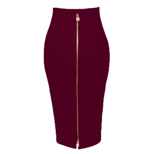 Image 1 - Free Shipping Plus Size XL XXL Summer Fashion Sexy Zipper Bandage Skirt 2019 Designer A Line Pencil Skirt Faldas 58cm