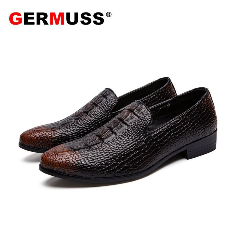 Pointed Toe Crocodile Flats Gentleman Dress Shoes Mens Dress Shoes  Luxury Wedding Shoes Men Flats Office  party Formal Shoes
