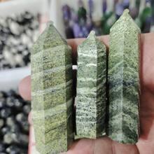Natural Crystal Epidote Column Crystal Point Quartz Mineral Stone Healing Obelisk Wand Home Decor DIY Gift Decoration Reiki