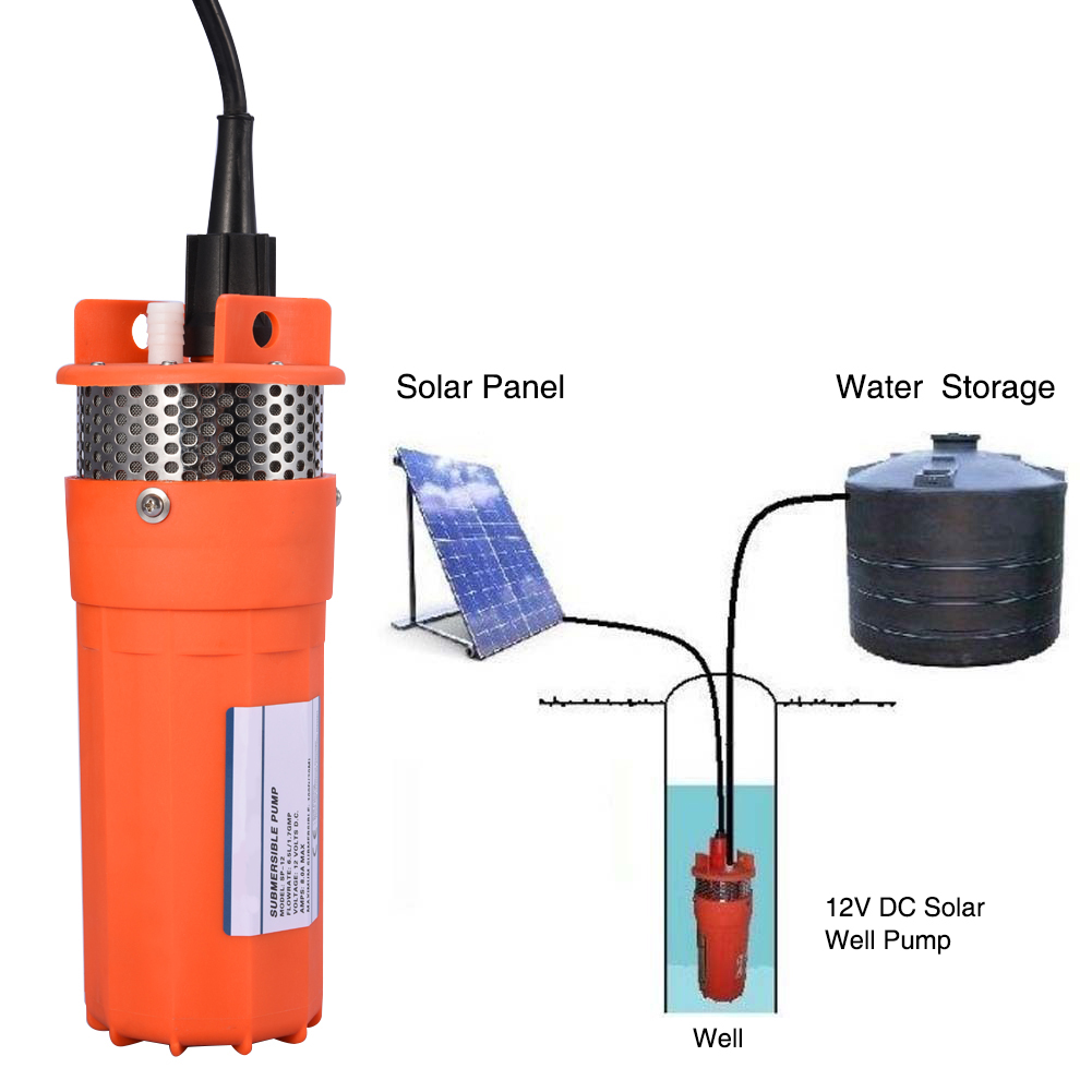 1/2Inch Water Pump DC 12V Submersible Pump Deep Well Alternative Energy Solar Powered Pump-in Pumps from Home Improvement    1