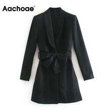 A-Line Dress Long-Sleeve Aachoae Vintage Bandage Spring Notched-Neck Office Elegant Autumn