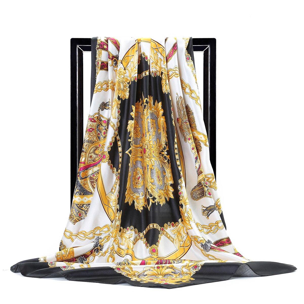 2020 Luxury Brand Silk Scarves Fashion Spring Autumn Women Tourism Flower Square Scarf Seaside Sunscreen Quality Shawl Print