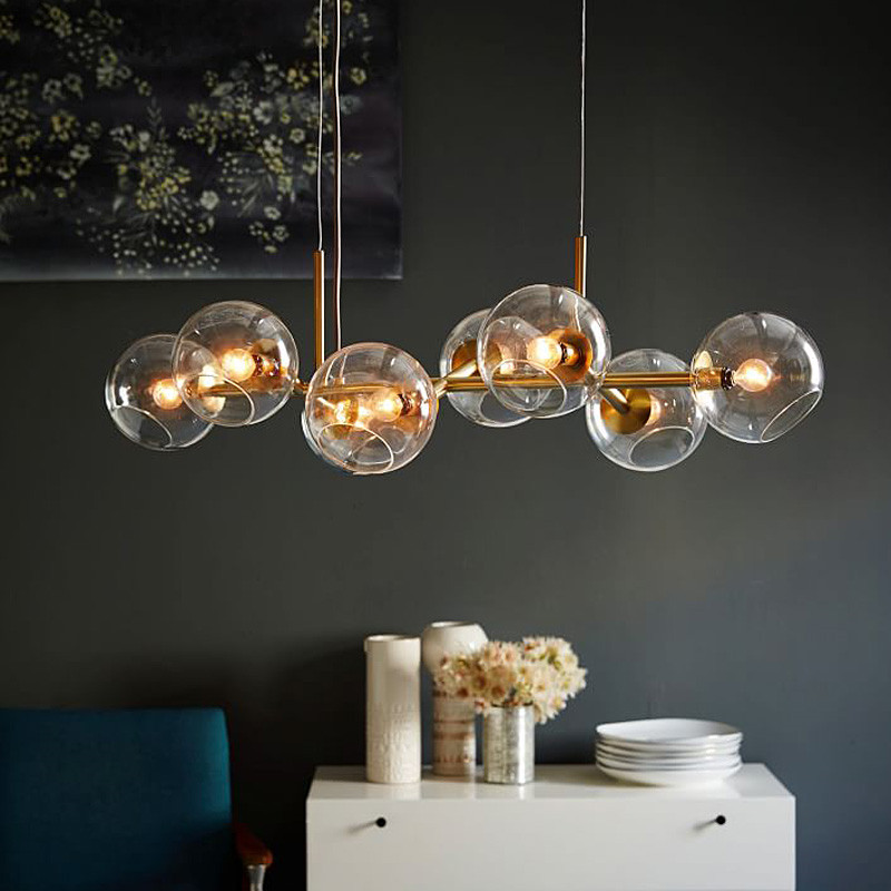 Nordic Concise Glass Ball Pendant Lights Creative Molecule Italy Designer Living Room Kitchen Bar Hanging Light Fixtures