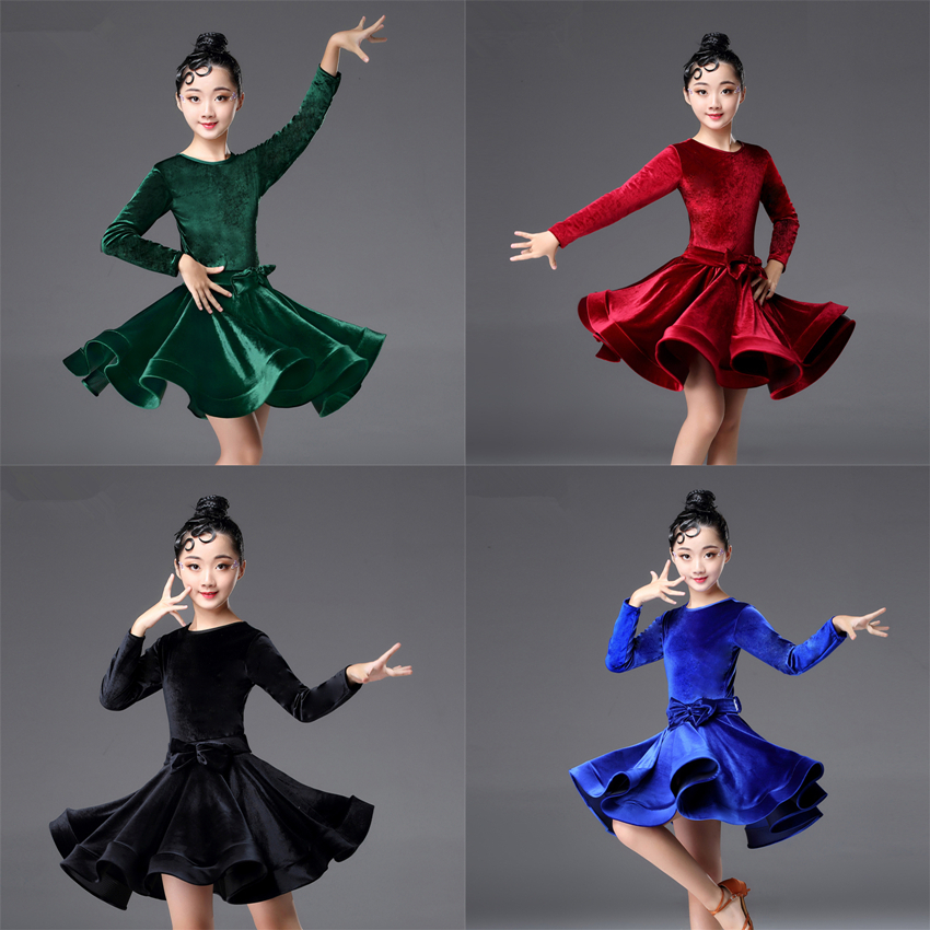 Kids Dresses for Girls Long Sleeve Latin Dance Dress Velvet Ballroom Competition Party Stage Performance Practice Costumes(China)